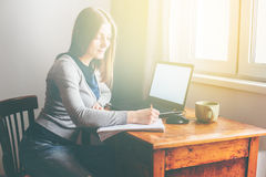 Woman Working Home Office Computer Laptop Home Royalty Free Stock Photos