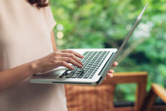 Woman working at home office hand on keyboard close up stock photos
