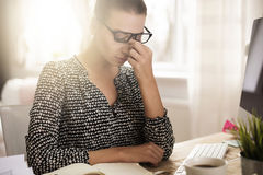 Woman working at home Royalty Free Stock Photos