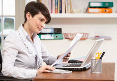 Woman Working From Home Using Laptop Stock Image