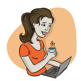 Woman working from home. Young woman working from home, holding a cup of coffee in front of a laptop Royalty Free Stock Images