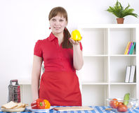 Woman working in the kitchen Royalty Free Stock Photo