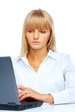Woman working on laptop Royalty Free Stock Photos