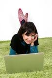 Woman working on laptop Stock Image