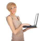 Woman working on laptop Stock Photo
