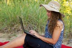 Woman working laptop royalty free stock photos