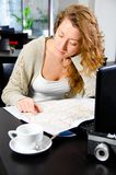 Woman is working on laptop Royalty Free Stock Images