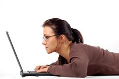 Woman working on laptop Royalty Free Stock Photography