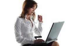 Woman working at laptop Royalty Free Stock Image