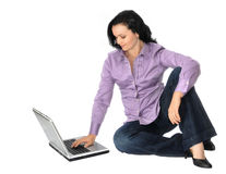 Woman working with laptop Stock Image