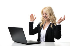 Woman working on laptop Stock Photography