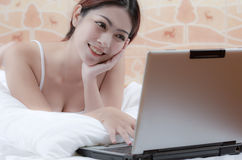 Woman working with laptop Stock Photo