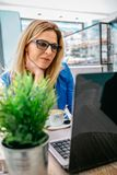 Woman working with the laptop Stock Photos