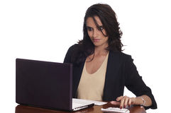 Woman working on laptop computer Royalty Free Stock Photo