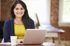 Woman Working At Laptop In Contemporary Office Stock Photography