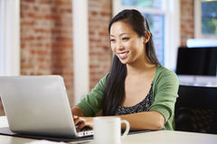 Woman Working At Laptop In Contemporary Office Stock Image