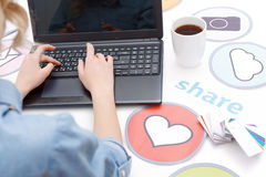 Woman working with a laptop Royalty Free Stock Image