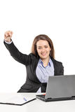 Woman working on laptop and gesturing success Stock Images