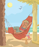 Woman working with laptop in hammock at beach. Funny vector illustration Stock Photos