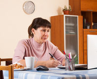 Woman working at a laptop. At home stock image