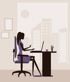 Woman  working on  laptop. Stock Photo