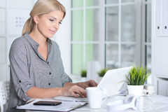 Woman working with laptop Stock Photos