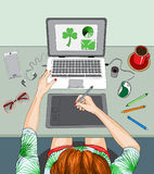 Woman working at the laptop, remote work Royalty Free Stock Photos