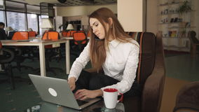 Woman Working With Laptop And Talking On The Phone. Woman working at the big office with panoramic windows . She speaking on the phone and typing on laptop. Her stock video footage