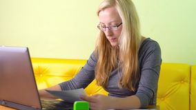 Woman working with laptop stock video footage