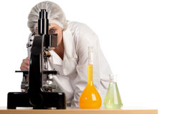 Woman working on Medical research Royalty Free Stock Photography