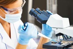 Woman working with a microscope. Beautiful woman in a laboratory working with a microscope Royalty Free Stock Photos