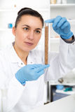 Woman working with a microscope in a lab. Royalty Free Stock Image