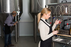 Woman working on modern brewery. Young female worker in apron bottling beer in glass bottles on modern brewery Royalty Free Stock Photography