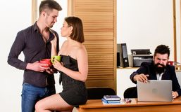 Woman working in mostly male workplace. Woman attractive lady working with men colleagues. Office collective concept. Sexual attraction. Stimulate sexual royalty free stock photo
