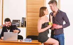 Woman working in mostly male workplace. Woman attractive lady working with men colleagues. Office collective concept. Sexual attraction. Stimulate sexual stock photos
