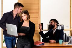 Woman working in mostly male workplace. Woman attractive lady working with men. Office collective concept. Sexual. Attraction. Stimulate sexual desire stock photos