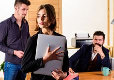 Woman working in mostly male workplace. Woman attractive working with men. Office collective concept. Sexual attraction. Stimulate sexual desire. Sexual stock image
