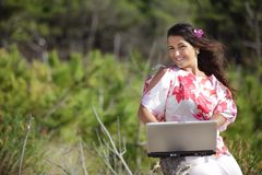 Woman working in nature Stock Photos