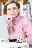 Woman working on notebook Stock Images