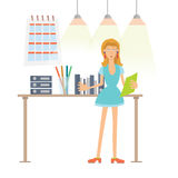A woman working in the office. Folders with documents on the desktop. Vector illustration, isolated on white. A young woman working in the office. Folders with Stock Image