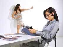 Woman is working at the office ll Stock Image