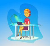 Woman working at office, secretary with notebook Royalty Free Stock Images