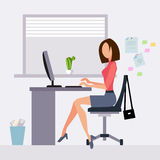 Woman working in office royalty free illustration