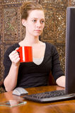 Woman Working On PC Keyboard And Mouse. Royalty Free Stock Photography