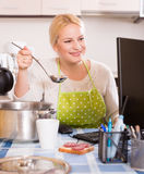 Woman working online at home Stock Photo