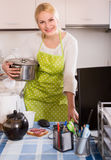 Woman working online at home Royalty Free Stock Images