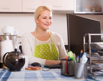 Woman working online at home Stock Images