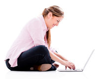 Woman working online Stock Photo