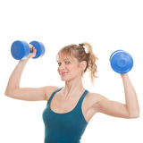 Woman working out. Healthy woman working out with weights stock photo