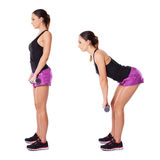Woman working out with barbells Royalty Free Stock Photos